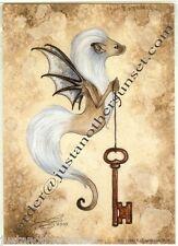 """Amy Brown Print 5""""x7"""" Ferret White Brown Skeleton Key Critter V Winged Flying"""