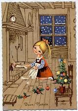 Signed Gaby Girl close to Fireplace Xmas Tree Vintage PC Circa 1950 A