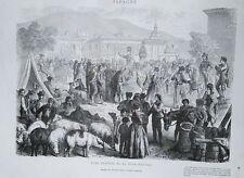 Fiera annuale di Alcala, 1860 Spagna xilografia
