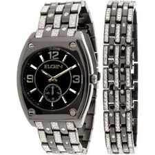 Elgin Men's Crystal Accented Ionic Watch and Matching Bracelet, Black FG9752