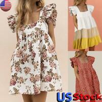 US Women Ruffle Sleeveless Mini Dress Floral Print Square Neck Stripes Sundress