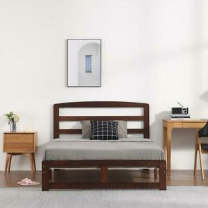 Solid Pine Walnut Wooden Bed Frame Pine Double King Size Options Modern