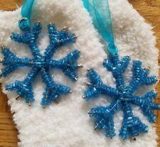 "(2) Snowflake 2"" Blue Hand Beaded Glass Czech Christmas Tree Ornaments NEW"