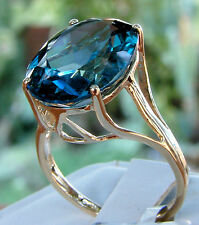 12.64cts Genuine London Blue Topaz 10k Solid Gold Solitaire Ring, Size 7