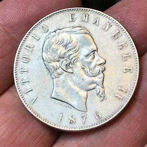 5 LIRE 1876 R ARGENTO 25 GRAMMI VITTORIO EMANUELE II REGNO D'ITALIA