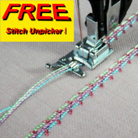 SEWING MACHINE 3 GROOVE CORDING FOOT BROTHER/SINGER/JANOME + FREE UNPICKER sa11