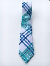 "Express Men's Slim Skinny Narrow Green Blue White Neck Tie Linen Cotton 2"" NWT"