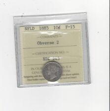 **1885 Obv.#2**, ICCS Graded Newfoundland, Ten Cent, **F-15**