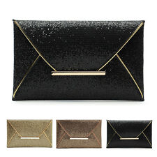 HOT WOMENS LADIES SHIMMER GLITTER BRIDAL PARTY EVENING PROM ENVELOPE CLUTCH BAG