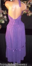 VTG Purple Plunge Crochet Halter Cotton Gauze Mexican day Sun Hippie Dress L-46""