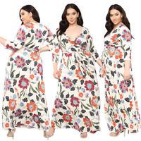 Women Long Maxi Dress Floral V Neck Holiday Beach Sundress Kaftan Boho Plus Size