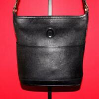 Vtg MARK CROSS NEW YORK Black Pebbled Leather Bucket Crossbody Satchel Purse Bag