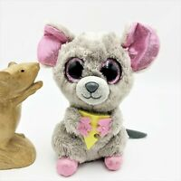 TY Beanie Boos Squeaker Mouse with Cheese, 16cm Grey Plush & Pink Glitter Toy