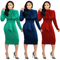 Womens Plus Size Office Wear Dress Bodycon Evening Cocktail Skirt Fat Casual Bow