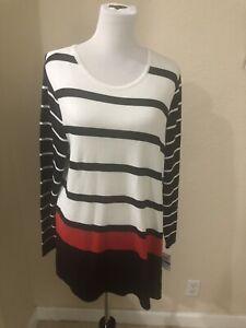Alfani XL Modern pop deep Black red White Black Stripe Tunic Womens