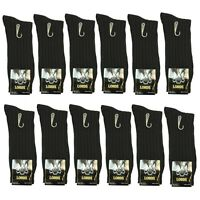 New Lords Ribbed 6 Pairs Mens Dress Socks Fashion Black Cotton Size 10-13