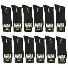 New Lords Ribbed 6 Pairs Mens Dress Socks Fashion Black Cotton Size 10-13