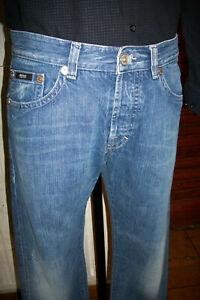 Pantalon jeans bleu délavé HUGO BOSS NOIR w34 L34 42/44fr LOGO POCHE ARRIERE h57