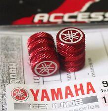 YAMAHA GENUINE WHEEL VALVE DUST CAP SET OF TWO RED KNURLED FINISH