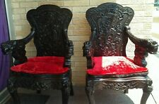 2 RARE VINTAGE ANTIQUE ASIAN ROSEWOOD HAND CARVED DRAGON ARM CHAIRS THRONE STYLE