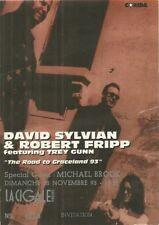 RARE / TICKET BILLET DE CONCERT - DAVID SYLVIAN : LIVE A PARIS ( FRANCE ) 1993
