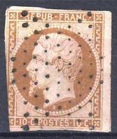 """FRANCE  N° 9 a """" LOUIS-NAPOLEON 10c  BISTRE-BRUN 1852 """" OBLITERE A VOIR P055"""