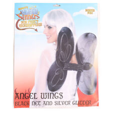 SMIFFYS BLACK GLITTER ANGEL WINGS NETTED FAIRY ACCESSORY DARK ANGELS FANCY DRESS