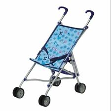 Doll Pram Buggy Amia Blue Patterned Accessories Doll New