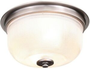 Flush Mount 2-Light Dimmable in Antique Nickel with Clear Prismatic Glass Shade