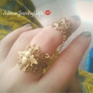 Gold Bee Chain Ring Set Armor Rings Set Adjustable