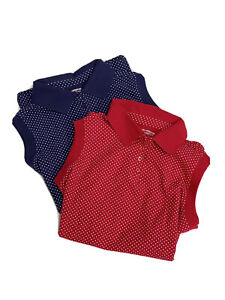 All American Comfort Tank Tops Collared Red & Blue Polka Dot Set of 2 Shirts 1X