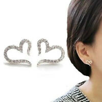 Women's Open Heart Crystal Rhinestone Ear Stud Earrings Piercing Jewelry Clever