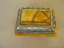 Nice vintage hand made Russian Baltic Amber and metal box from Kaliningrad