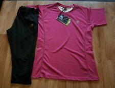 WOMENS KARRIMOR SHORT SLEEVE TOP PINK & CROPPED TIGHTS UK SIZE 12