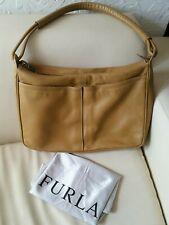 Furla Leather Slouch Shoulder Bag work office Large Tan