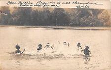 1907 RPPC Swimming near Beach Glen Head LI NY Glenhead
