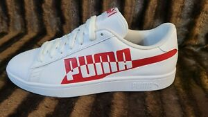 Puma Man Men's Smash Leather Shoes Athletic Red White Color Sneaker Size 9.5