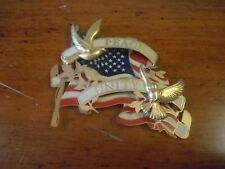 Vintage Metal Patriotic Christmas Ornament / American Flag/ Peace Unity Doves