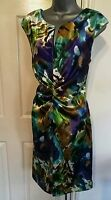DRESS 12 40 MEDIUM M METALLIC PRINT CRUISE TEA WEDDING OCCASION EVENING PARTY