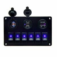 6 Gang LED Schalter Schaltpanel Schalttafel Voltmeter 12V 24V Bus Auto Boot RV #