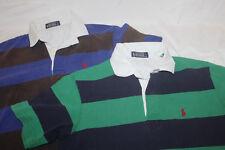 Lot of 2 Men's Polo Green Purple Stripe Polo Shirts Size Small