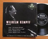 """LW 5212 Wilhelm Kempff Recital Handel Beethoven EXCELLENT Decca 10"""" Vinyl LP"""