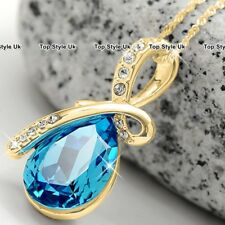 Gold & Blue Topaz Crystal Diamond Necklace Present Gifts for Her Women Mother B5