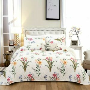 Floral Coverlet Quilted Patchwork Queen Size Comforter Bedspreads Set Pillowcase