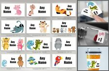 64 x Personalised waterproof stickers school name labels bags, shoes, bottles E2
