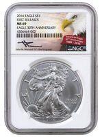2016 1 Oz American Silver Eagle NGC MS69 FR Mercanti Signed Eagle Label SKU38845