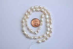 BR41 Zuchtperlen Strang Süßwasser Perle Schmuck Kette Halsketten 6-7 mm barock