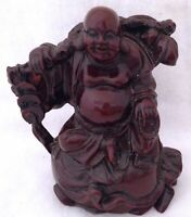 """Happy Buddha Money Coins Wealth Red Resin Laughing Figurine Feng Shui 3 3/4"""""""