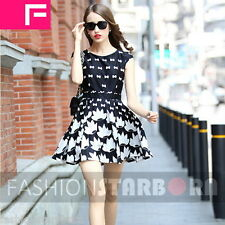 fSb Imported O-Neck Black & White Mini Sleeveless Dress