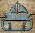 Cast Iron Antique Style SAILBOAT Coat Hooks Hat Hook Rack Towel SHIP Nautical For Sale